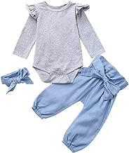 K-youth Ropa Bebe Nina Recien Nacido Otoño Invierno 2018 Ofertas Ropa de Bautizo Blusas Bebe Niña Manga Larga Camisetas Bebé Conjuntos Bebe Niña Mono Camisa + Pantalones + Diadema