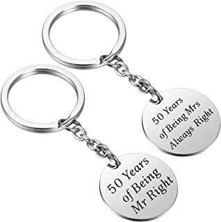 Mr Right & Mrs Always Right Keychains 50th Wedding Anniversary Gifts for Couple Set of 2 Stainless Steel W/Gift Box