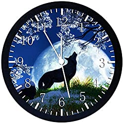 Wolf and Moon Silent Non-Ticking 12 Large Wall Clock Glass Nice for Gift or Wall Decor Y37