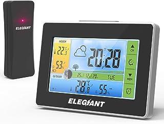 ELEGIANT 2020 väderstation med utegivare, digital inomhus- och utomhustermometer, hygrometer med färgdisplay, väderprogno...
