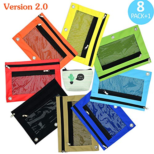 Cute Color Binder Pencil Pouches, for 3 Holes Ring Binder with Large Capacity, Strong Zippers and Clear Windows, 8 Pcs Plus 1 Slim Net Pencil Case by FunCube