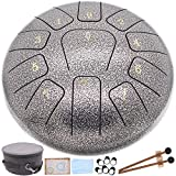 Steel Tongue Drum Panda Drum, 11 Notes 10 Inch Tank drum percussion instrument, C Key Handpan Drum for Kids and Adults, Musical Education Mind Healing Yoga Meditation (silver white Worry Free Drum)