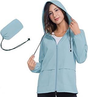 Womens Raincoat Windbreaker Waterproof Lightweight Packable Hooded Rain Jacket S-XXL
