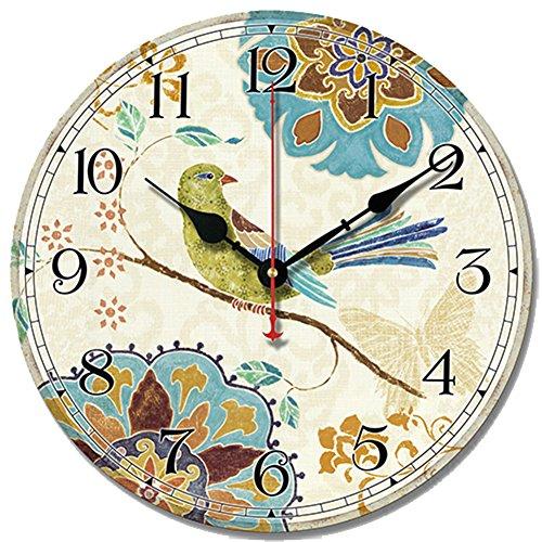 S.W.H Reloj de pared con diseño de pájaros y flores que no