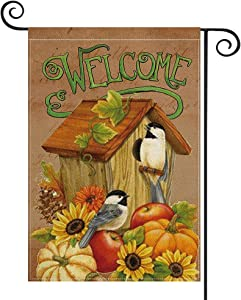 AVOIN colorlife Thanksgiving Welcome Garden Flag Pumpkin Sunflower Bird House Vertical Double Sided, Fall Grateful Family Gather Harvest Yard Outdoor Decoration 12.5 x 18 Inch