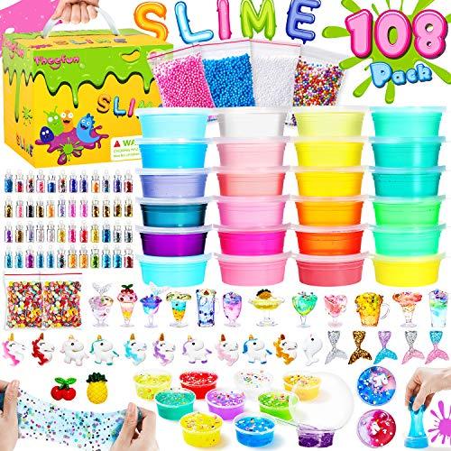 theefun Slime Set 108 PCS DIY Slime kit mit 20 Farben Crystal Clay Schlamm, 4 Flauschiger Schleim, Schaum Bälle, Slime Factory Schleim Selber Machen für Kunsthandwerk für Kinder Geschenke mädchen