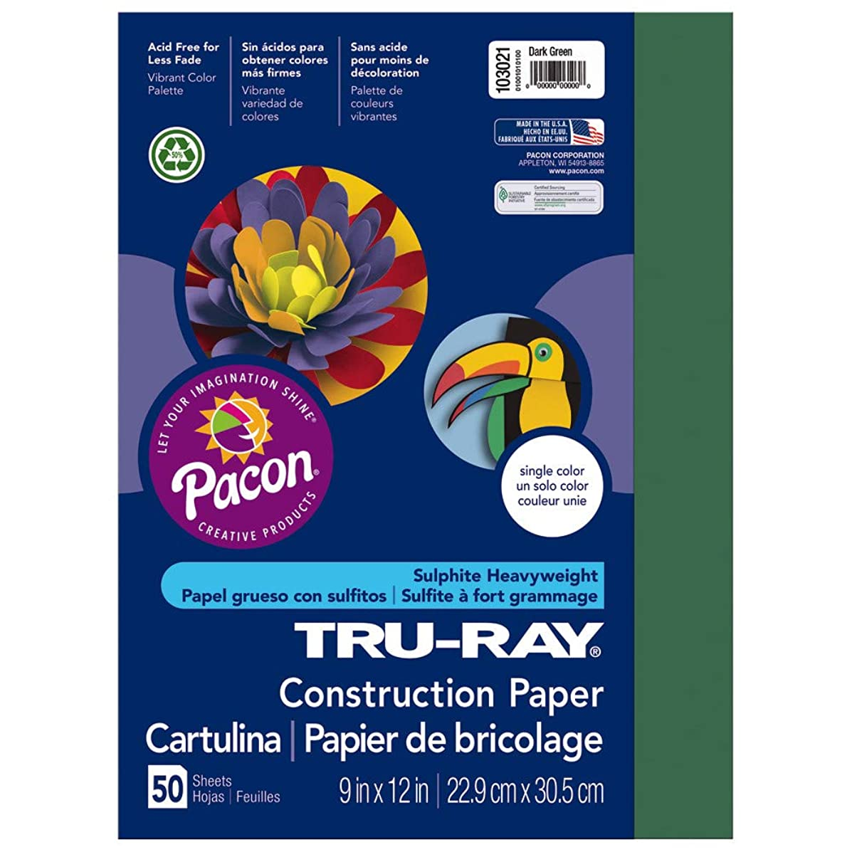Tru-Ray Heavyweight Construction Paper, Dark Green,  9