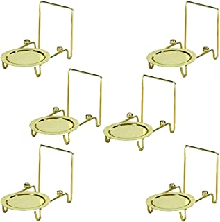 HOHIYA Tea Cup and Saucer Display Stand Holder Rack Teacup Easel Etched Base(Gold,pack of 6)