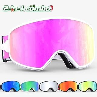 COPOZZ Ski Goggles, MX OTG Snow Snowboard Goggles Anti Fog UV Protection Magnetic Interchangeable Lens Ski Goggles for Men Women Youth