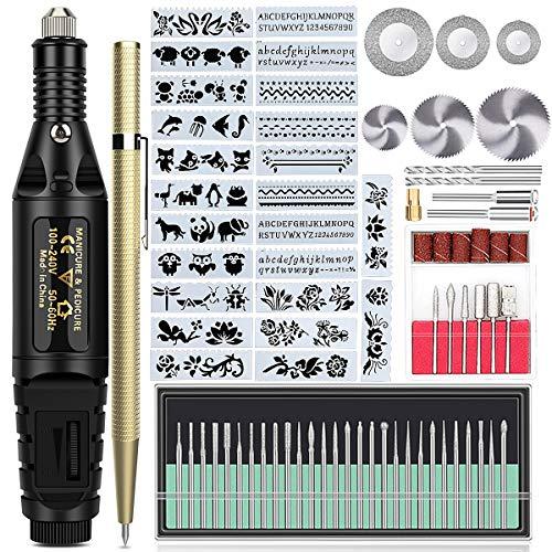Wukong 79 Pcs di Strumenti per Incisione, Incisore Elettrico con Scribe, Attrezzo per Incidere il Legno Metalli Legno, Elettrica Incisione Penna