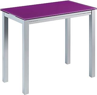 MOMMA HOME Mesa de Cocina Extensible - Modelo Londres - Color Morado/Plata - Material Cristal Templado/Metal - Medidas 95 ...