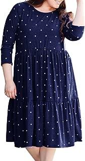 YONYWA Plus Size Womens Dresses Polka Dot Long Sleeve Casual Swing Pleated Midi Dress