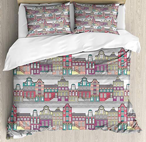 ABAKUHAUS Nederlands Dekbedovertrekset, Amsterdam Schets Huizen, Decoratieve 3-delige Bedset met 2 Sierslopen, 230 cm x 220 cm, Veelkleurig
