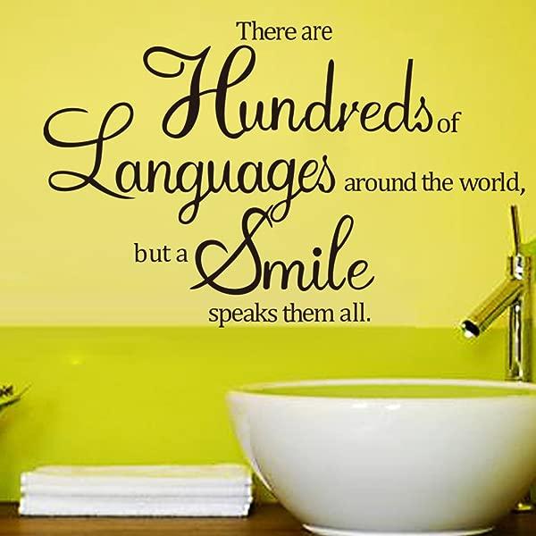 Apexshell TM 数百种语言在世界各地,但一个微笑说话,他们都引用可移动的高质量 DIY 装饰窗户贴花墙贴贴纸装饰圣诞节儿童家庭儿童卧室