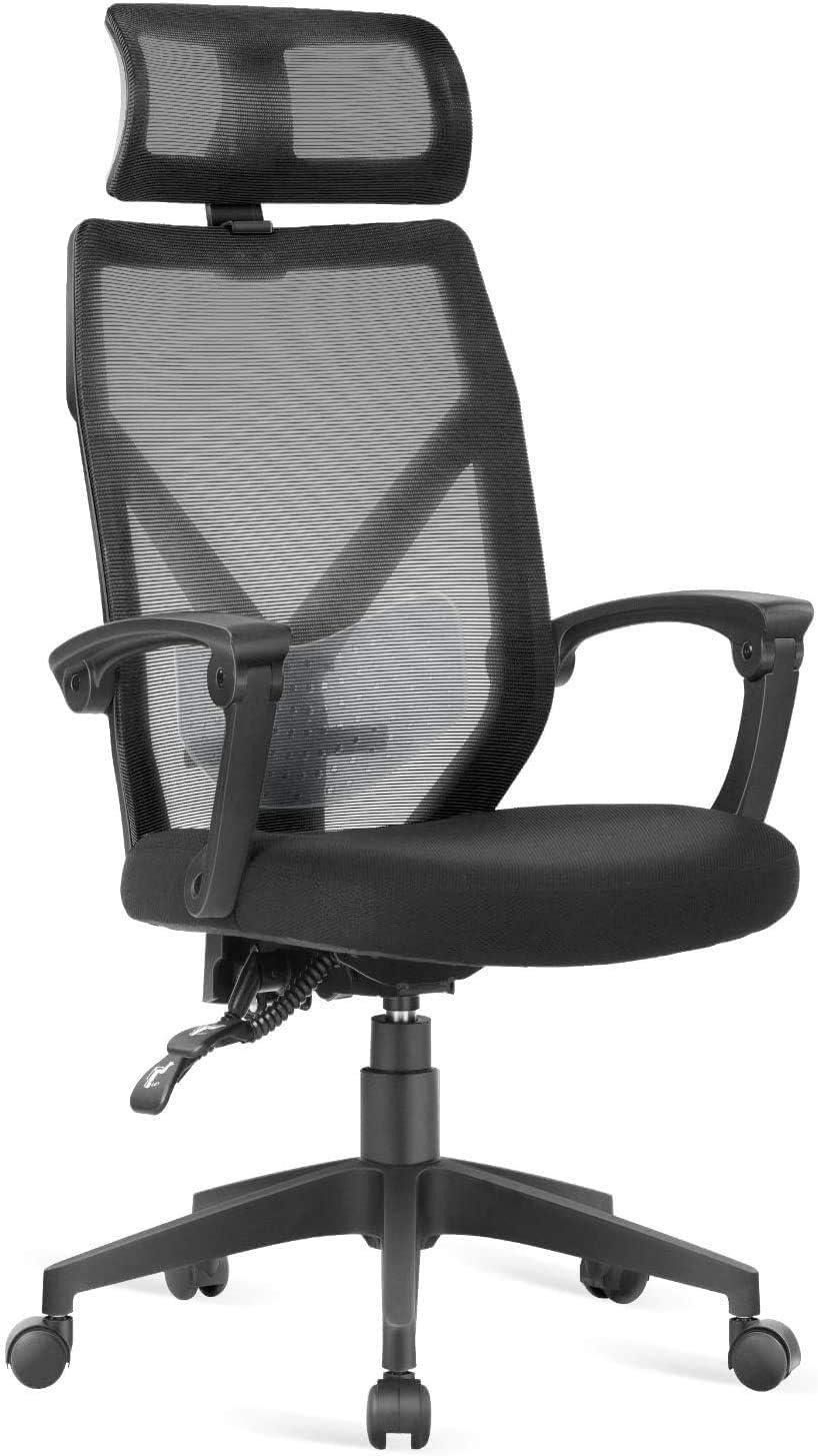 Dripex Bürostuhl ergonomisch, Ergonomischer Stuhl Schreibtischstuhl mit Netz-Design-Sitzkissen Computerstuhl mit Verstellbare Kopfstütze und…