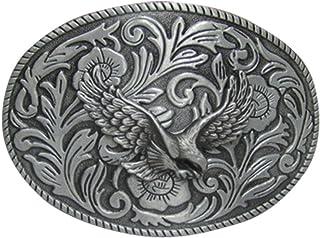E-Clover Vintage Men`s Western Eagle Belt Buckle Cowboy Engraved Oval Belt Buckles
