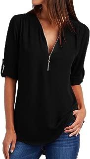 Women's 3/4 Sleeve Blouse 2019 Summer Casual Loose Zipper Tops T-Shirt
