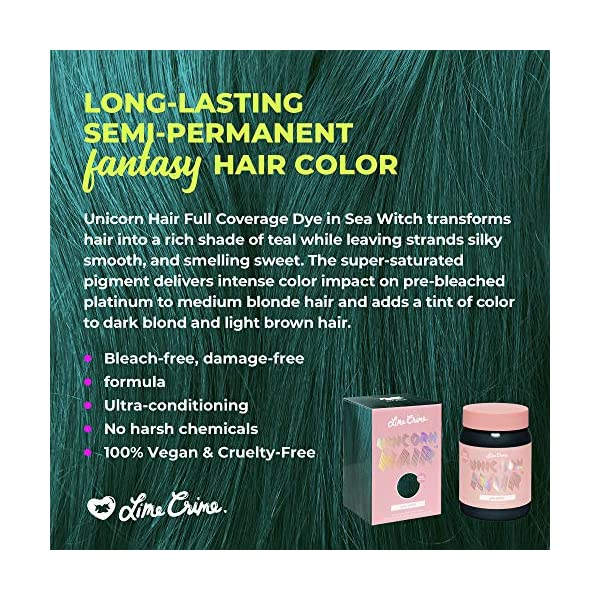 Lime Crime Unicorn Hair Dye, Sea Witch - Rich Teal Fantasy Hair Color - Full Coverage, Ultra-Conditioning, Semi-Permanent, Damage-Free Formula - Vegan - 6.76 fl oz 4