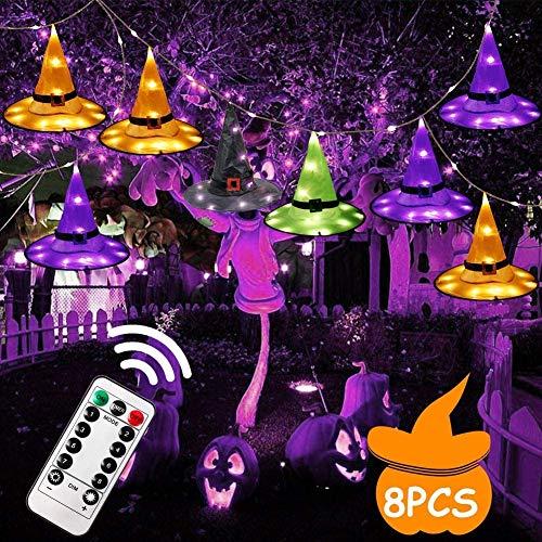 AerWo Decoración de Halloween al aire libre, 8 piezas colgantes de sombrero de bruja iluminado brillante, actualizar IP65 luces de cadena impermeable para decoración de jardín patio (8 modos)