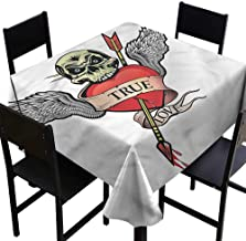 SKDSArts Decorative Print Tablecloth Tattoo,Angel Wings Skull Love,W60 x L60 for Cards