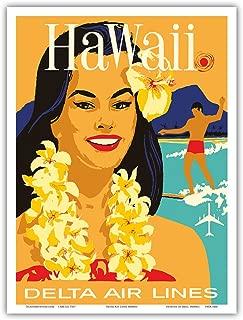 Hawaii - Delta Air Lines - Hawaiian Island Girl wearing a Flower Lei and a Surfer - Vintage Hawaiian Travel Poster c.1960s - Hawaiian Master Art Print - 9in x 12in