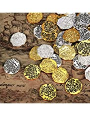Hicarer Moneda de Metal de Pirata Réplicas de Doblones Españoles Juguetes de Monedas de Tesoro Pirata para Favores de Decoración(Color Conjunto 1, 60 Piezas)