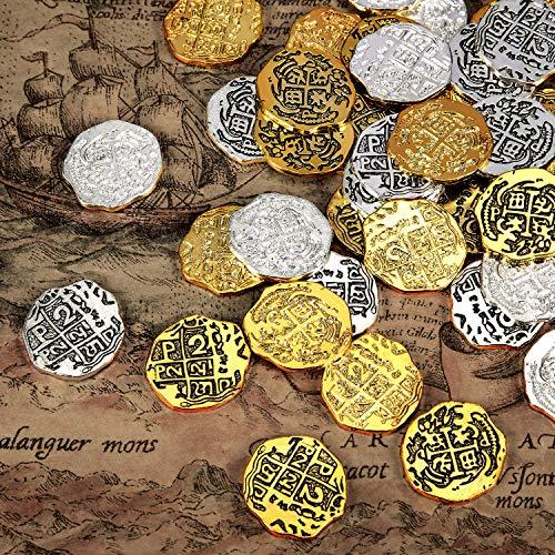 Metall Piraten Münzen Spanisch Doubloon Repliken Piraten Schatz Münze Spielzeug für Party Gefallen Dekorationen (Farbe Set 2, 60 Stücke)