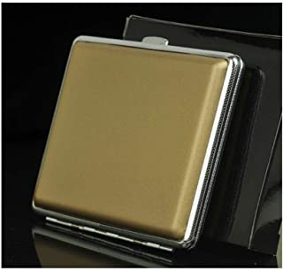 LIFANGAU Cigarette Case, Automatic Cigarette Case, Black Leather Fine Linen, Ultra-Thin Smoking, 14-20 Cigarette Case,Cigarette Case for Men and Women (Color : Gold)
