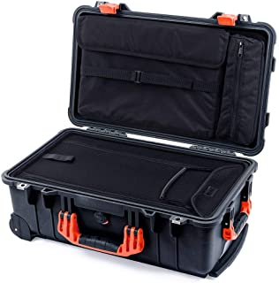 Black & Orange Pelican 1510LOC case. Computer lid Pouch & Luggage Bottom.