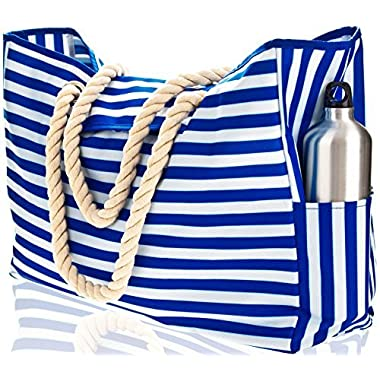 Beach Bag XXL (HUGE). 100% Waterproof. L22 xH15 xW6 . Cotton Rope Handles, Top Magnet Clasp, Two Outside Pockets. Blue Stripes Shoulder Beach Tote has Phone Case, Built-In Key Holder, Bottle Opener