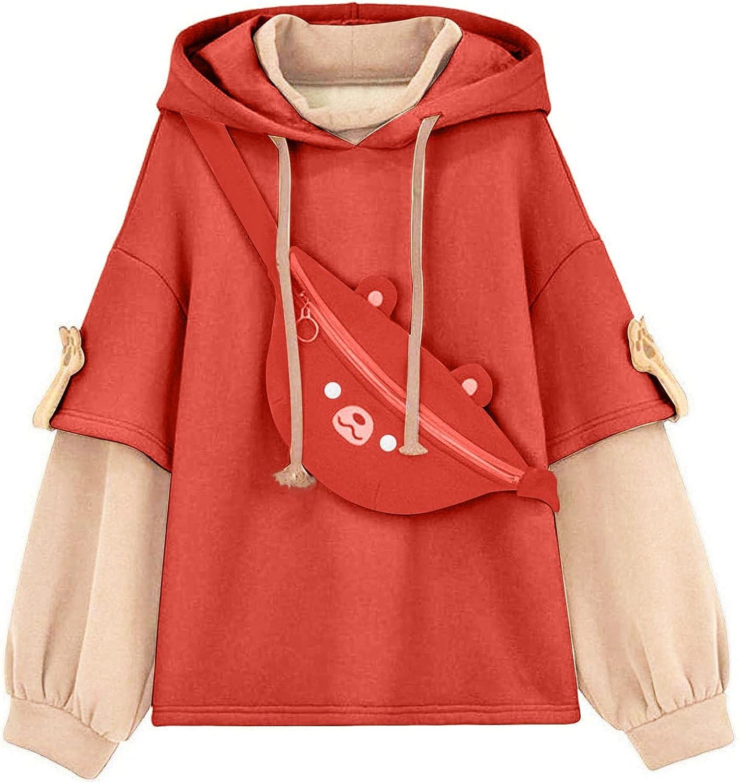 Womens Little Bear Hoodie Sweatshirt Long Sleeve Casual Blouse Tops Cute Hoodie Sweaters with Bag