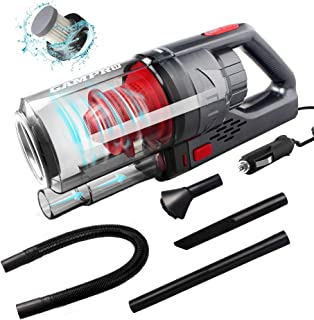 GAMPRO 6000PA Car Vacuum Cleaner, Handheld Vacuum Cleaner 4 in 1 NOZZLES 150W 12V 4.5M Cable Detachable HEPA Filter Low No...