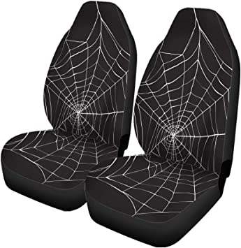 Pinbeam Car Seat Covers Halloween White Spider on Dark Spiderweb Pattern Animals Arachnid Set of 2 Auto Accessories Protectors Car Decor Universal Fit for Car Truck SUV: image