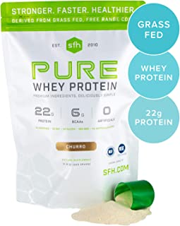 Pure Whey Protein Powder by SFH | Best Tasting 100% Grass Fed Whey | All Natural 100% Non-GMO, No Artificials, Soy Free, Gluten Free (Large Bag (1.97 lbs), Churro)