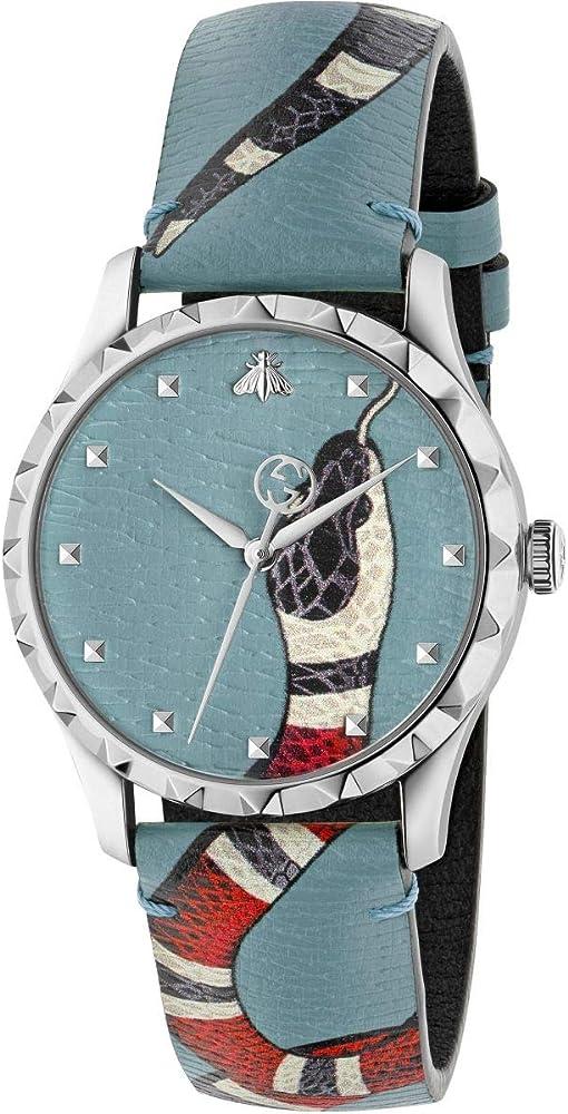 Gucci,Orologio da uomo ,in acciaio inossidabile e cinturino in vera pelle YA1264080