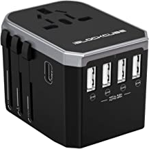 iBlockCube Universal Travel AC Power Plug Adapter with International Socket & 4 USB 5.6A + 1 Type-C 3.0A Smart Ports Work for US EU AU UK up to 150+ Countries Worldwide Type A G I (Silver-Black)