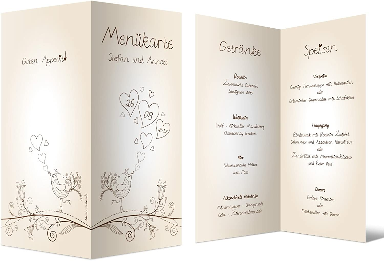 Menükarten Hochzeit (80 Stück) - Liebesbaum - Speisekarte Getränkekarte Getränkekarte Getränkekarte B01MXPZ9HL | Elegant Und Würdevoll  23dc93
