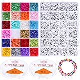 Bracelet Beads for Jewelry Making 4000pcs 4mm,Beads Craft Kit Set, Bracelet Necklaces Seed Letter Alphabet DIY Art Craft with 2 Rolls Clear String Elastic Cord