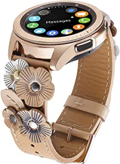 FayTop Leather Watch Band Compatible Samsung Galaxy Watch 42mm/Active 40mm with Rose Gold Buckle,Top Grain Leather Watch Strap Women 20mm Flower Wristband for Galaxy Gear Sport/S2 Classic Beige