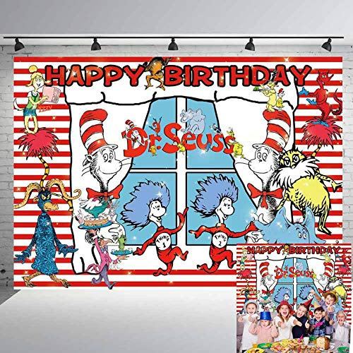 Dr. Seuss Cat Hat Backdrop Photo Background Children Boys or Girl 1st Happy Birthday Photography Dessert Cake Table Decor Supplies Kid Party Banner Studio Booth Props 5x7ft