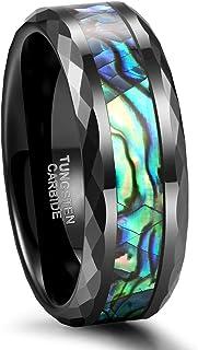 Frank S.Burton 6 مم 8 مم Abalone Shell Inlay Tungsten Rings متعددة الأوجه الأسود النساء الرجال خاتم الزفاف زوجين خواتم الح...