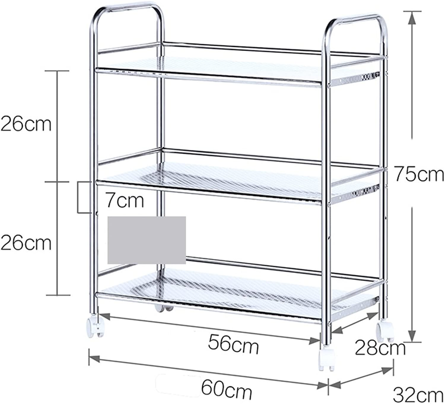 Kitchen Trolley Stainless Steel Removable Storage Shelves Floor 3 Layer 4 Microwave Oven Shelf Pot -by TIANTA (Size   75  32  60cm)