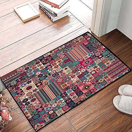QDYLM Alfombra de baño de Microfibra esponjosa,Patchwork marroquí Patrón geométrico Floral Azulejos marroquíes Árabe Tradicional tunecino alfombras de Ducha de Suave Absorbente de Agua, 40x60 cm