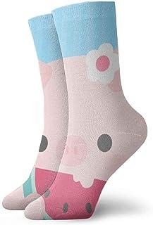 tyui7, Los cerdos de dibujos animados comen calcetines de compresión antideslizantes de sandía acogedores calcetines deportivos de 30 cm para hombres, mujeres y niños