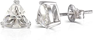 10K White Gold Post 2CTW 6.5mm Curved Trillion Moissanite Stud Earring Push Back Platinum Plated Silver