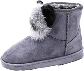 Fulision Women's Snow Boots Winter Wild Plus Velvet to Keep Warm Artificial Hair Ball Short Tube Cotton Boots