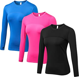 Women's Compression Tops Performance Athletic Long Sleeve Shirt Moisture Wicking Workout T-Shirt Tops