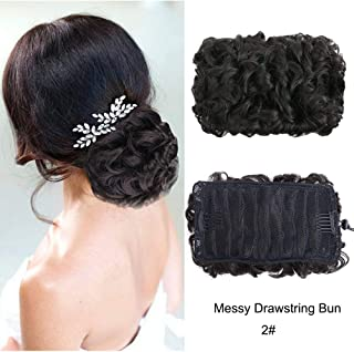MORICA Messy Bun Ponytail Extension Curly Wavy Dish Bun Hairpiece Clip in Drawstring Ponytail Hair Pieces for Women (Natural Black-2#)