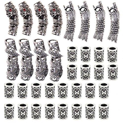 PIAOPIAONIU 36 Pcs Norse Viking Dragon Beard Bead Rasta Dreadlocks Runes Beads for Beards Hair Paracord
