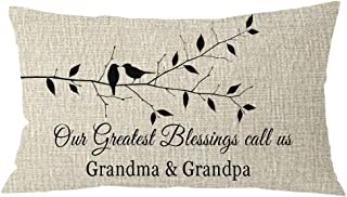 NIDITW Gift to Grandparents Animal Birds Tree Branches Our Greatest Blessings Call Us Grandma and Grandpa Burlap Throw Pillow Case Cushion Cover Chair Sofa Decorative Rectangle 12x20 inches
